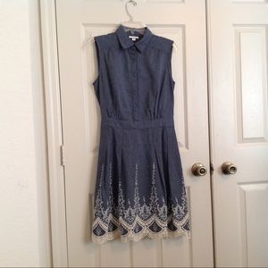 Westport Denim Style Dress with Lace Detail